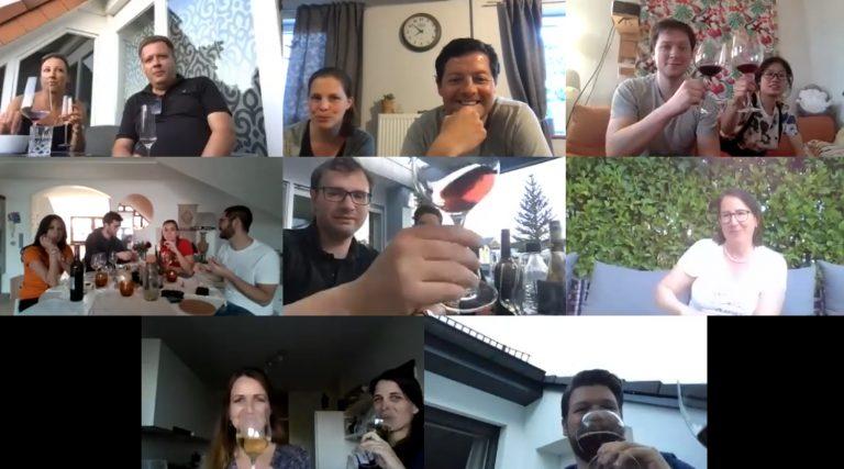 Teilnehmer beim digitalen Weintasting der Wirtschaftsjunioren Karlsruhe